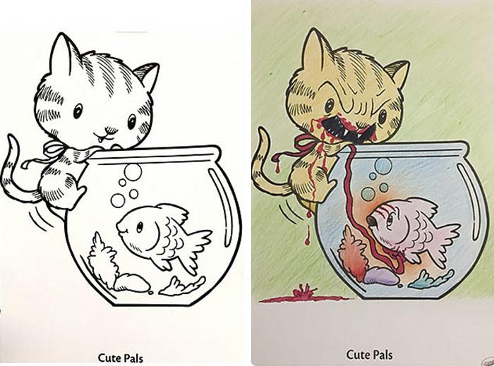 this is what happens when adults color drawings for children 59915c4211589  700 - 동심파괴 주의! 어린이용 '컬러링북'을 어른이 하면 벌어지는 일 (사진 16장)