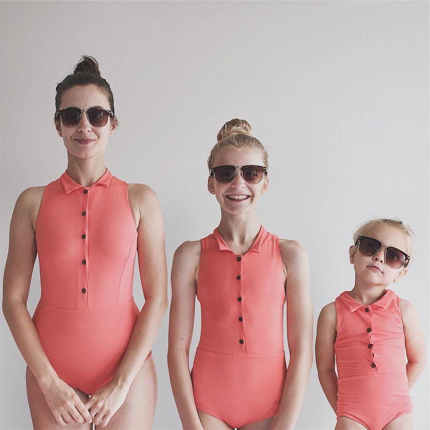 46 1 - Mãe e filhas se vestem com a mesma roupa e criam uma série de fotos divertidas