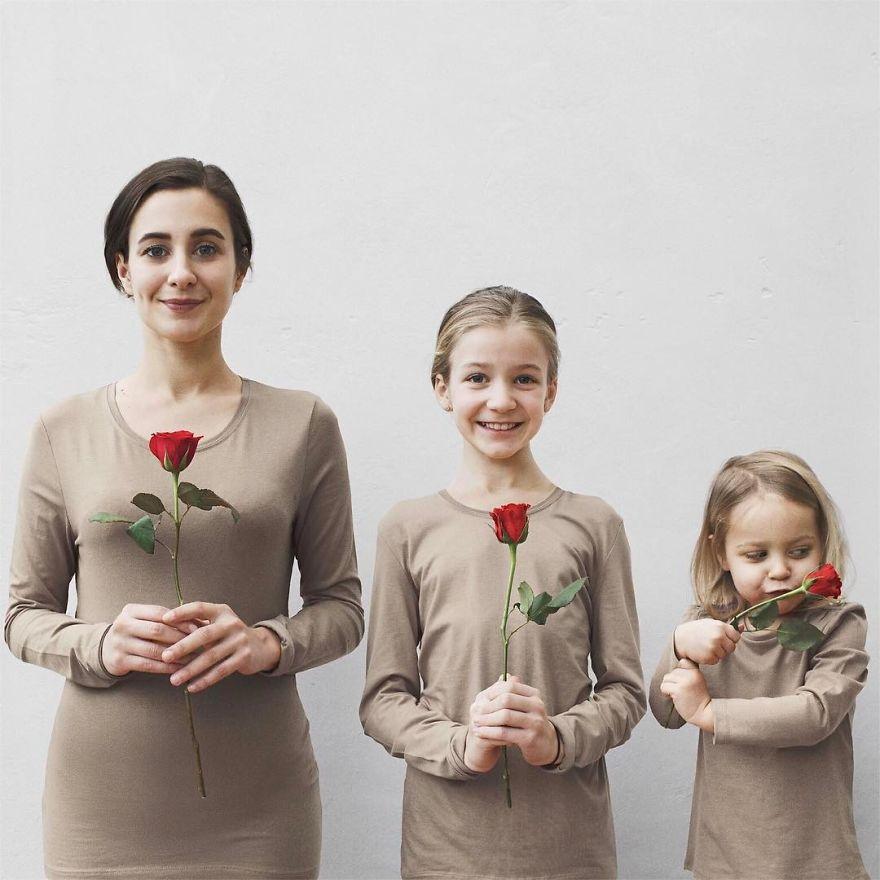 50 1 - Mãe e filhas se vestem com a mesma roupa e criam uma série de fotos divertidas