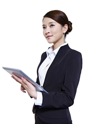 studio portrait of an asian business executive