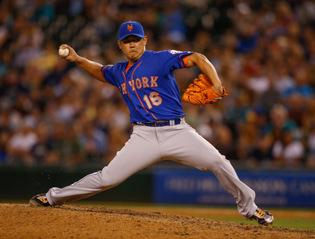SEATTLE, WA - JULY 21: Relief pitcher Daisuke Matsuzaka #16 of the New York Mets pitches in the seventh inning against the Seattle Mariners at Safeco Field on July 21, 2014 in Seattle, Washington. (Photo by Otto Greule Jr/Getty Images)