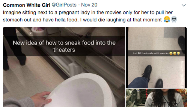 teen sneaks snacks into movie with pregnant belly 1 - Fed Up With Movie Snack Prices, Teenage Devises Clever Plan To Sneak Snacks In!