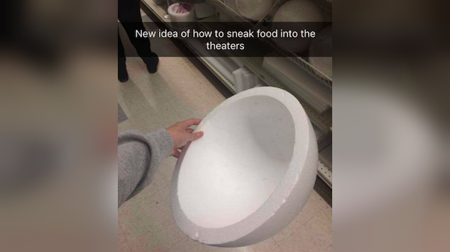 teen sneaks snacks into movie with pregnant belly 2 - Fed Up With Movie Snack Prices, Teenage Devises Clever Plan To Sneak Snacks In!