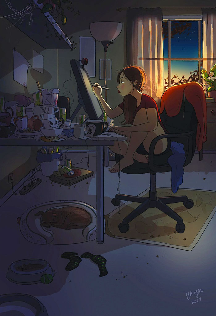 living alone 4 - Illustrator captures the perfect moments of living alone