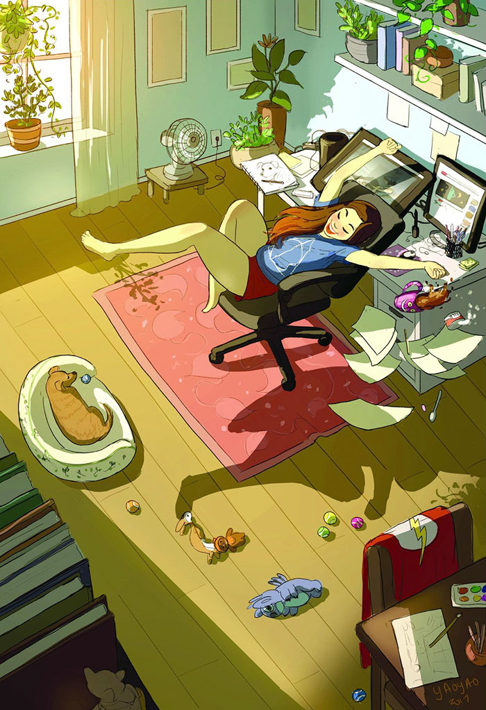 living alone 9 - Illustrator captures the perfect moments of living alone