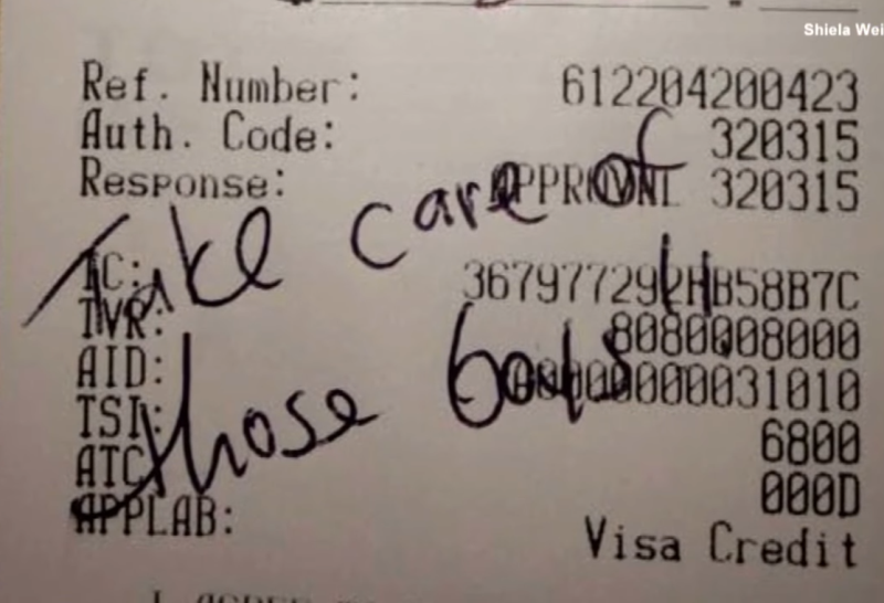 shiela6 - Bartender Grandma Tells Customers About Triplet Grandsons, Couple Nearby Leaves Note On Receipt