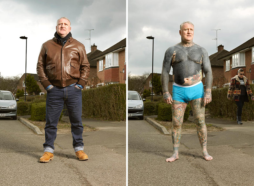 tattoo portraits uncovered 10 - Photographer Takes Photo Of People With And Without Their Clothes To Reveal Stunning Tattoos