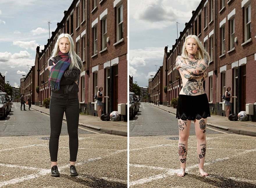 tattoo portraits uncovered 2 - Photographer Takes Photo Of People With And Without Their Clothes To Reveal Stunning Tattoos