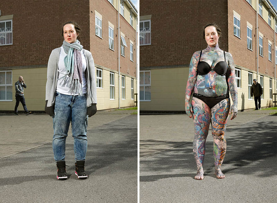 tattoo portraits uncovered 4 - Photographer Takes Photo Of People With And Without Their Clothes To Reveal Stunning Tattoos
