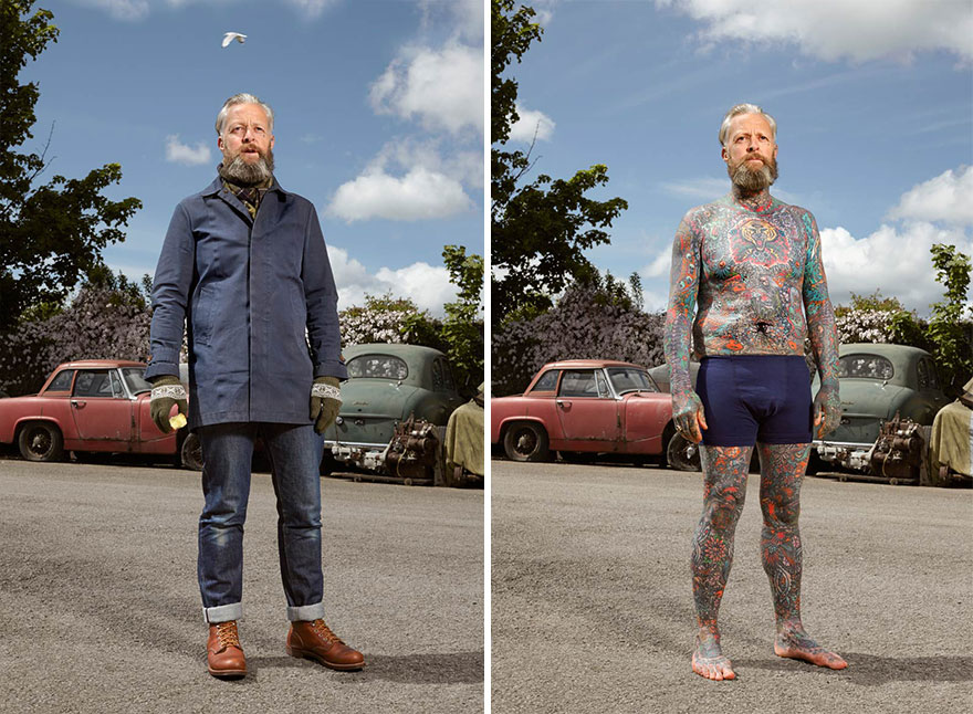 tattoo portraits uncovered 5 - Photographer Takes Photo Of People With And Without Their Clothes To Reveal Stunning Tattoos