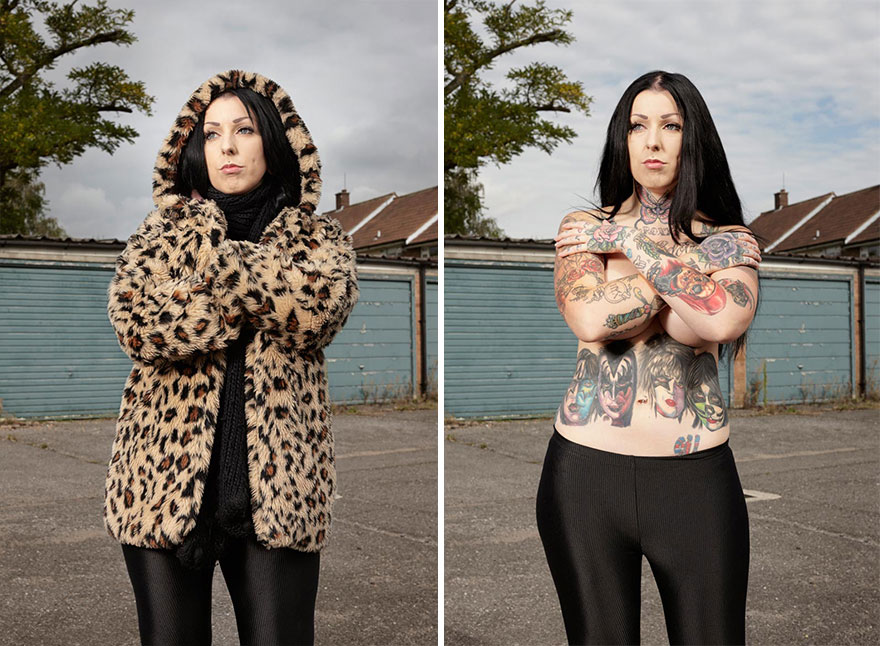 tattoo portraits uncovered 6 - Photographer Takes Photo Of People With And Without Their Clothes To Reveal Stunning Tattoos