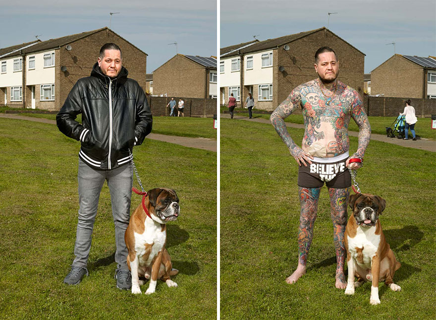 tattoo portraits uncovered 7 - Photographer Takes Photo Of People With And Without Their Clothes To Reveal Stunning Tattoos