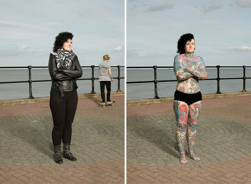 tattoo portraits uncovered 8 - Photographer Takes Photo Of People With And Without Their Clothes To Reveal Stunning Tattoos