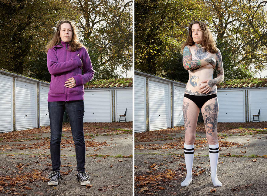 tattoo portraits uncovered 9 - Photographer Takes Photo Of People With And Without Their Clothes To Reveal Stunning Tattoos