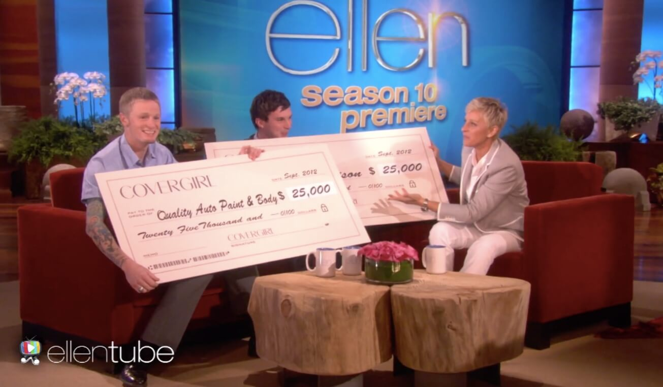ell9 6 - Ellen Gives Away $50,000 To A Gay Collge Student And A Mechanic!