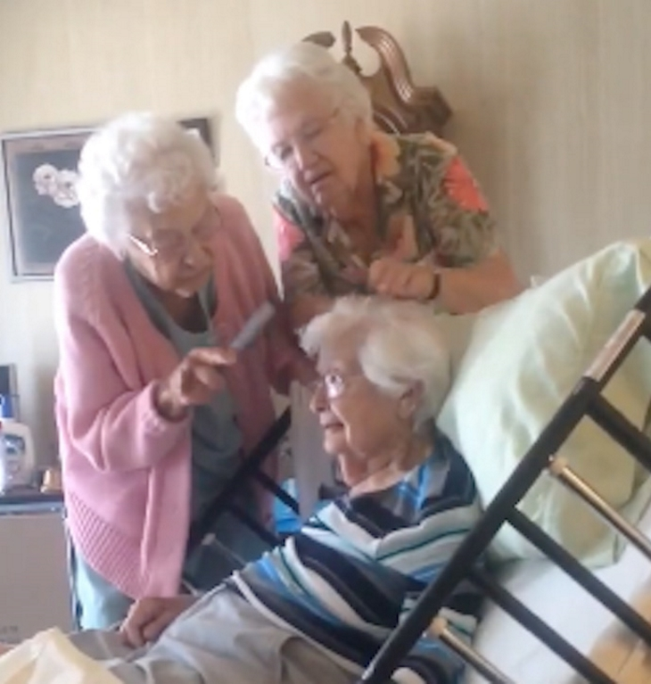 helphairone - This Cute Video Will Drag Your Attention. These Two Elderly Women Helping Their 97-Year-Old Sister Comb Her Hair In Hospice