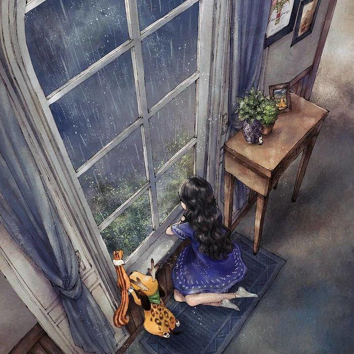 img 5a83ab5bc3d69 - 韓國藝術家畫下「單身&寵物」的獨居生活,網民驚嘆「原來是幸福!」