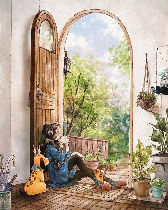 img 5a83ab678db30 - 韓國藝術家畫下「單身&寵物」的獨居生活,網民驚嘆「原來是幸福!」