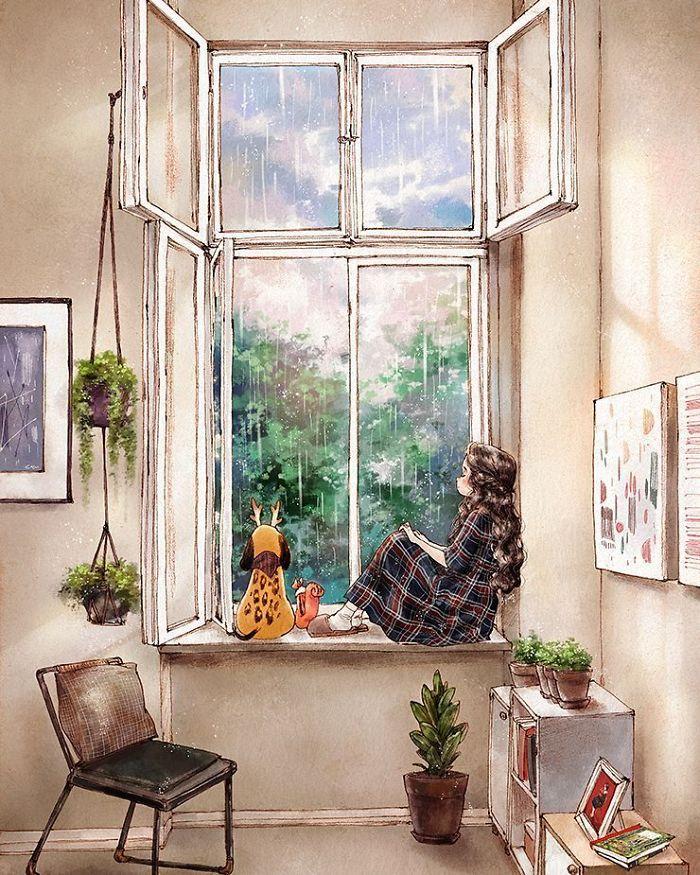 img 5a83aba37b48b - 韓國藝術家畫下「單身&寵物」的獨居生活,網民驚嘆「原來是幸福!」