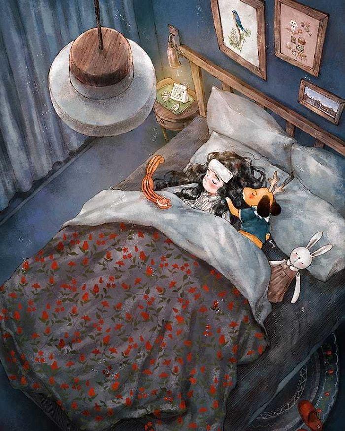 img 5a83abb543d4b - 韓國藝術家畫下「單身&寵物」的獨居生活,網民驚嘆「原來是幸福!」