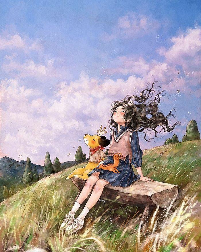 img 5a83abbe5950b - 韓國藝術家畫下「單身&寵物」的獨居生活,網民驚嘆「原來是幸福!」