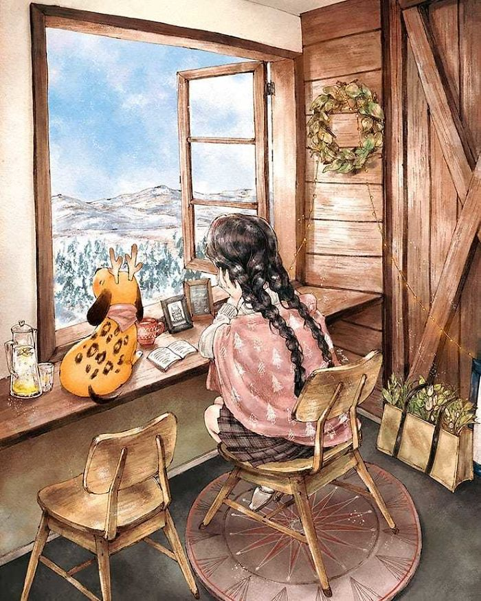 img 5a83abd3d8677 - 韓國藝術家畫下「單身&寵物」的獨居生活,網民驚嘆「原來是幸福!」