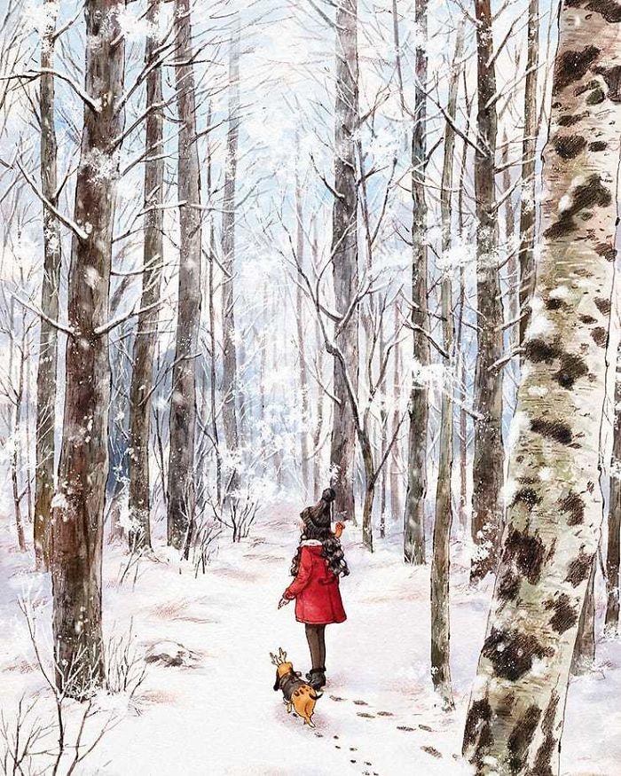 img 5a83abde56ed4 - 韓國藝術家畫下「單身&寵物」的獨居生活,網民驚嘆「原來是幸福!」