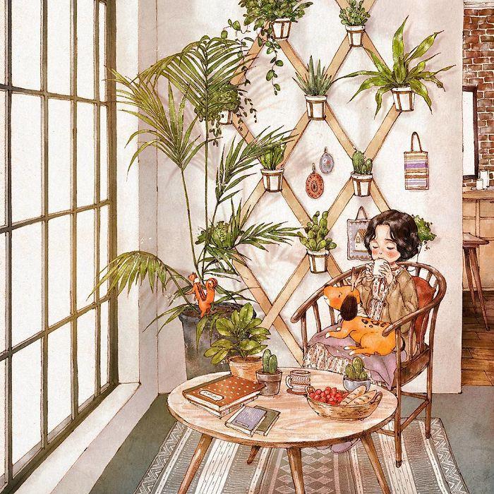 img 5a83abef12576 - 韓國藝術家畫下「單身&寵物」的獨居生活,網民驚嘆「原來是幸福!」