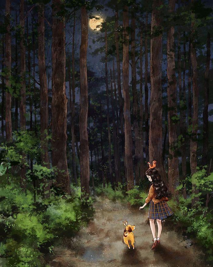 img 5a83ac11b874c - 韓國藝術家畫下「單身&寵物」的獨居生活,網民驚嘆「原來是幸福!」