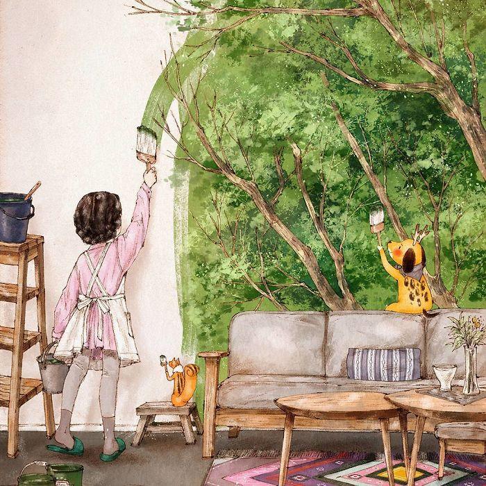 img 5a83ac1a13457 - 韓國藝術家畫下「單身&寵物」的獨居生活,網民驚嘆「原來是幸福!」