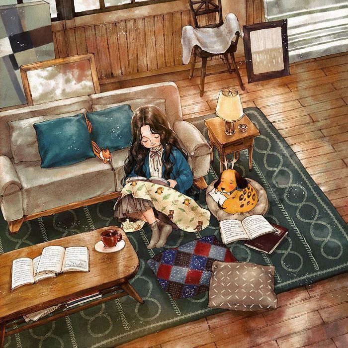 img 5a83ac2d907ad - 韓國藝術家畫下「單身&寵物」的獨居生活,網民驚嘆「原來是幸福!」