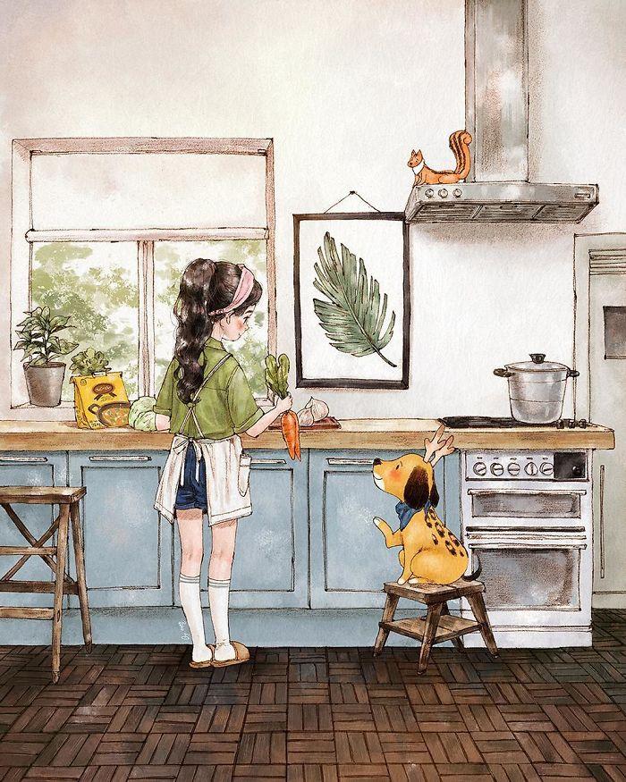 img 5a83ac43d3ff1 - 韓國藝術家畫下「單身&寵物」的獨居生活,網民驚嘆「原來是幸福!」