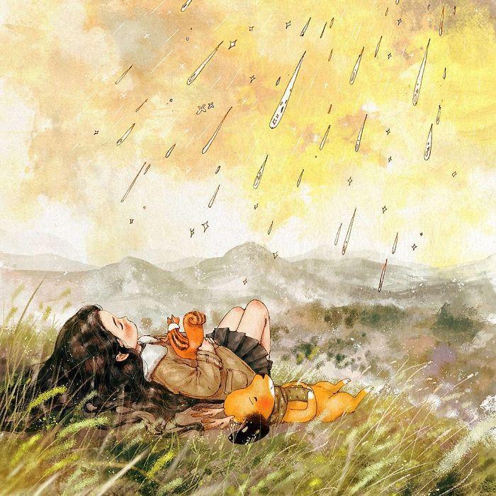 img 5a83ac4b5d967 - 韓國藝術家畫下「單身&寵物」的獨居生活,網民驚嘆「原來是幸福!」
