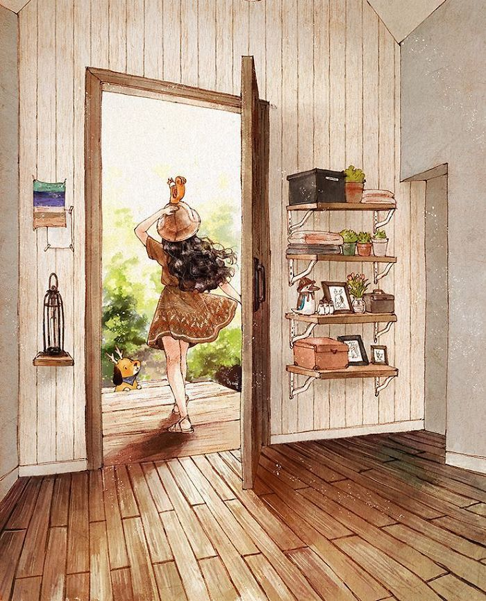 img 5a83ac6995da8 - 韓國藝術家畫下「單身&寵物」的獨居生活,網民驚嘆「原來是幸福!」