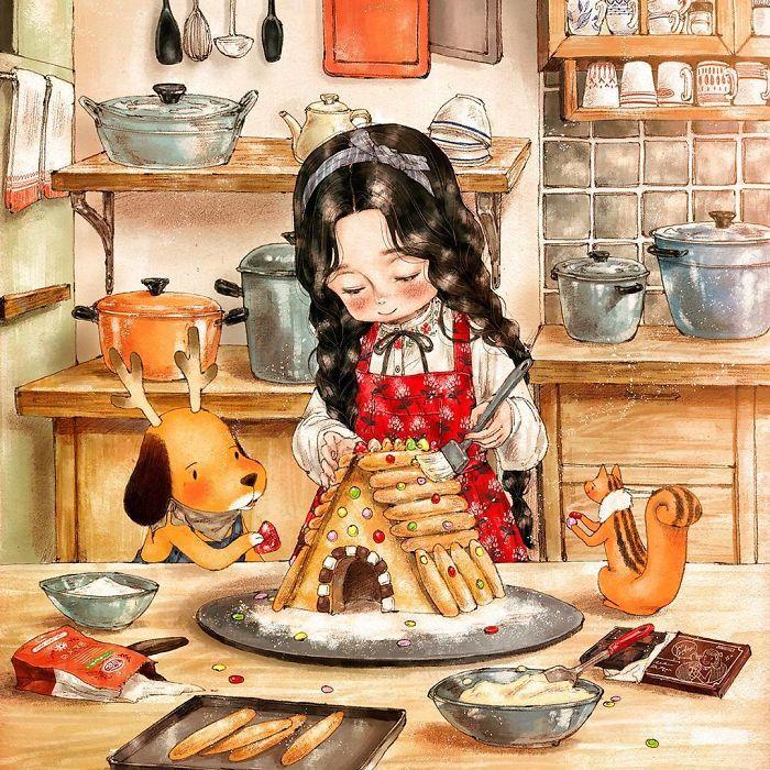 img 5a83ac729d33e - 韓國藝術家畫下「單身&寵物」的獨居生活,網民驚嘆「原來是幸福!」