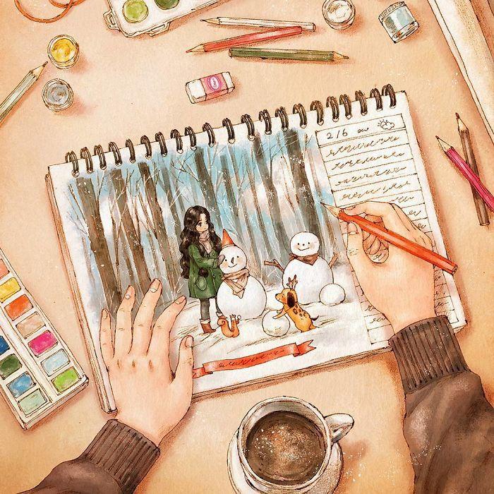 img 5a83ac7d7dd6f - 韓國藝術家畫下「單身&寵物」的獨居生活,網民驚嘆「原來是幸福!」