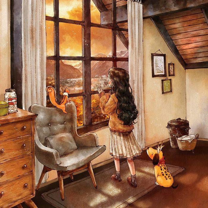img 5a83ac83d894b - 韓國藝術家畫下「單身&寵物」的獨居生活,網民驚嘆「原來是幸福!」