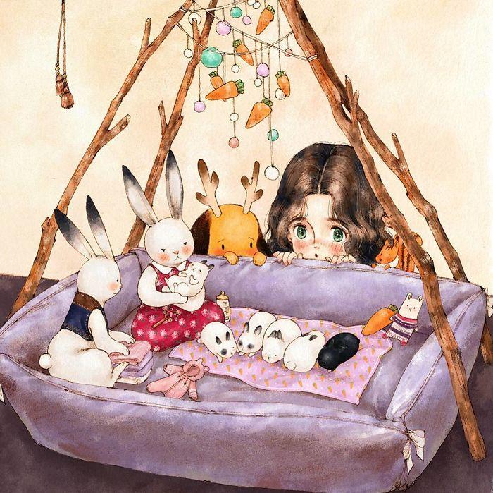 img 5a83ac93bcf17 - 韓國藝術家畫下「單身&寵物」的獨居生活,網民驚嘆「原來是幸福!」