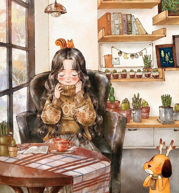 img 5a83acab9784f - 韓國藝術家畫下「單身&寵物」的獨居生活,網民驚嘆「原來是幸福!」