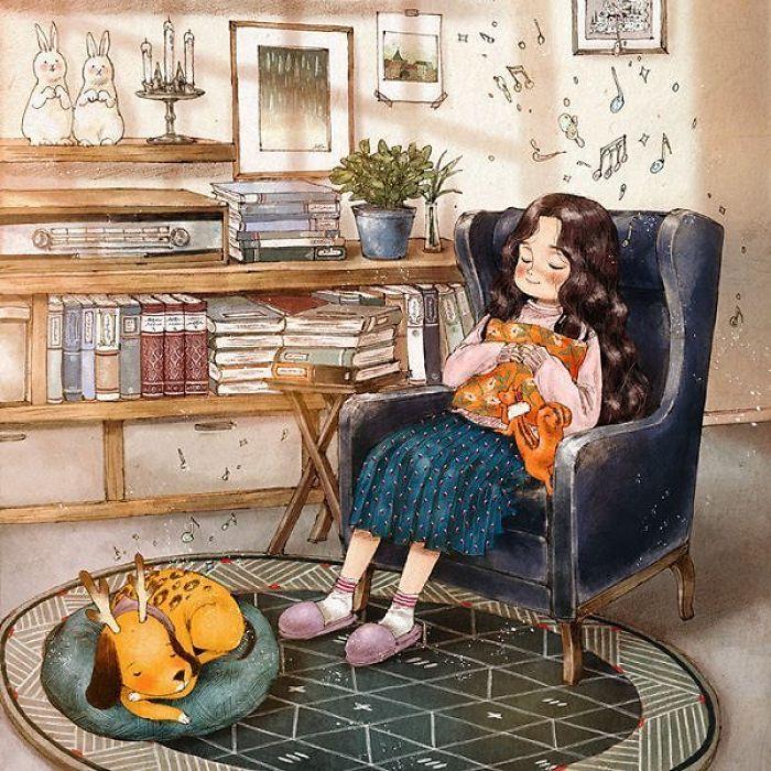 img 5a83acc23c86d - 韓國藝術家畫下「單身&寵物」的獨居生活,網民驚嘆「原來是幸福!」