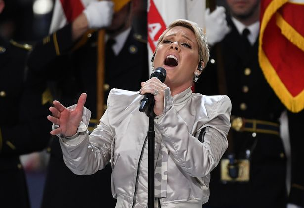 recording artist pink sings the us natio - Pink Struggles To Get Voice Back As She Fights Influenza One Day Prior To Super Bowl Anthem Performance