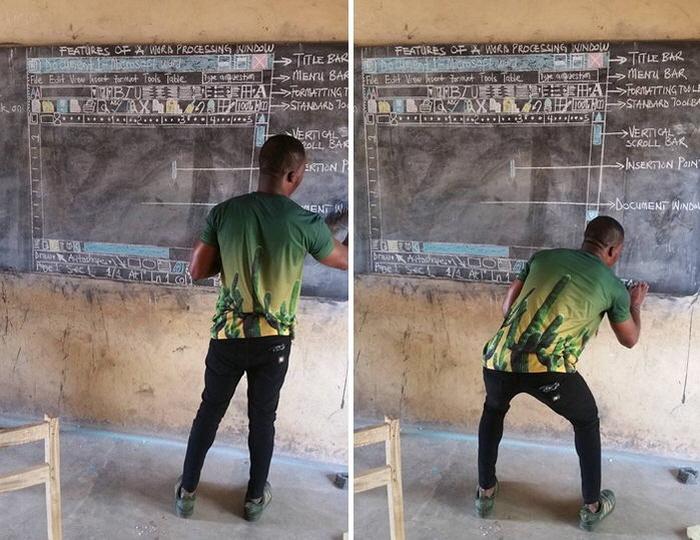 1 112 - 컴퓨터가 없는 가나 학생들 위해 칠판에 '워드' 직접 그려 수업한 선생님