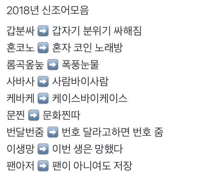 """1 20 - """"렬루 이생망..롬곡옾눞..."""" 2018년 '신조어' 모음"""