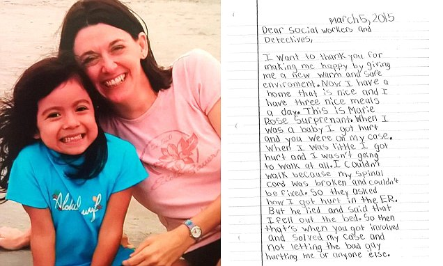 279b585200000578 0 image a 10 1429133287991 - Saved From Abuse As A Baby, This 8-Year-Old Lets Social Workers Know How Much It Meant To Her And Her Letter Made Everyone In Tears