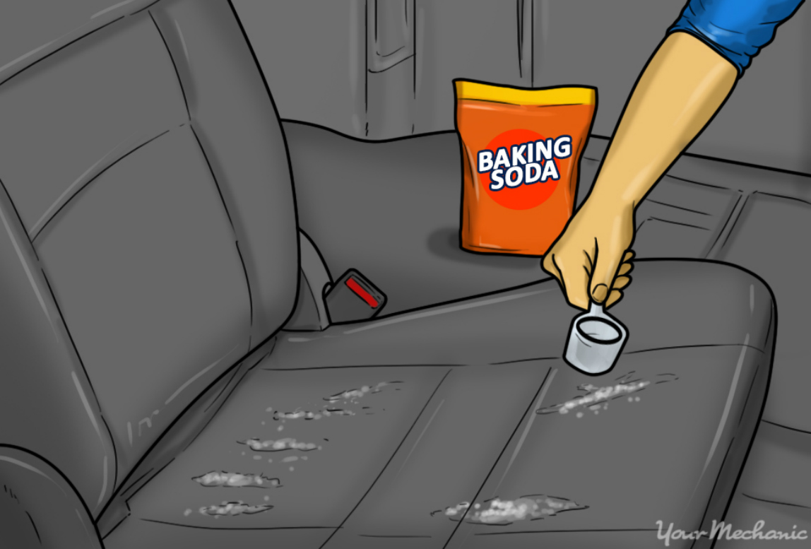 4 how to remove the odor of sour milk from your car baking soda being applied to a car seat - 16 Life-saving Car Hacks For Your Unplanned Road Trip