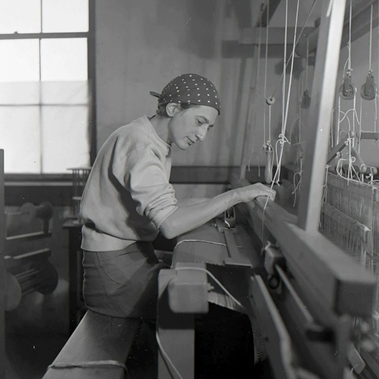 Anni Albers in her weaving studio at Black Mountain College