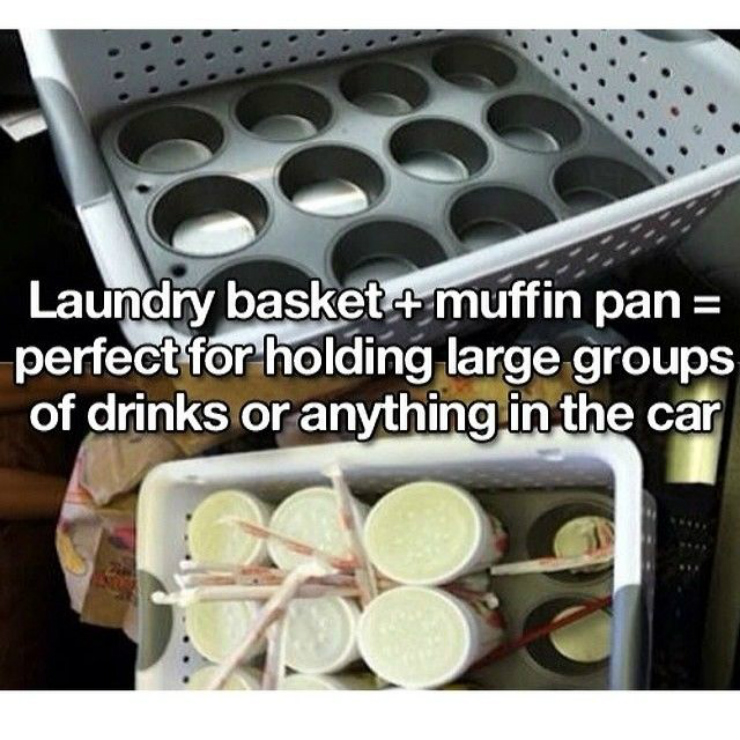 66282 laundry basket and muffin pan for large drinks - 16 Life-saving Car Hacks For Your Unplanned Road Trip