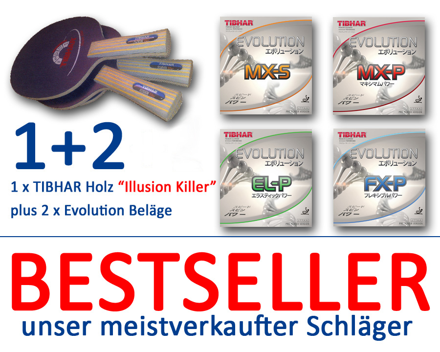 TIBHAR Evolution Beläge + Holz Illusion Killer