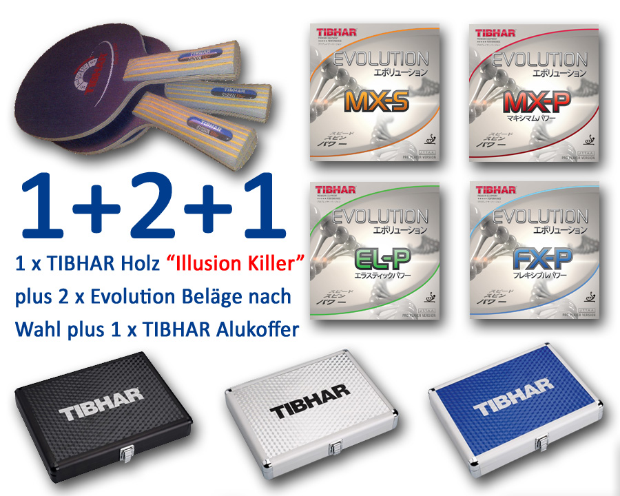 TIBHAR Evolution Beläge und Holz Illusion Killer plus Alukoffer