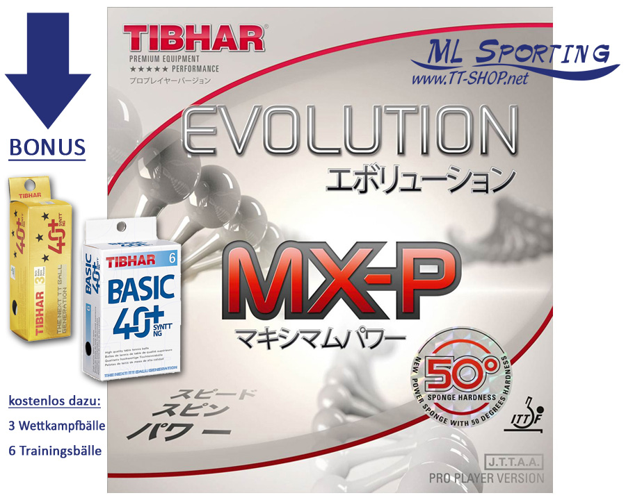 TIBHAR Evolution MX-P50 plus Testbälle